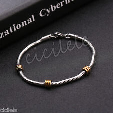 Fashion Women Men Stainless Steel Silver Wristband Chain Cuff Bangle Bracelet