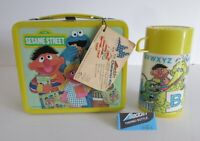 1979 Vintage Sesame Street Lunchbox Thermos Mint Unused Tags Wow !!!