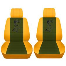 Fits 2014 to 2018 Chevrolet Silverado Yellow and Hunter Green Deer Seat Covers