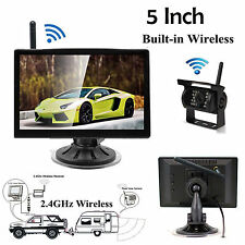 "Wireless 5"" Rear View Monitor IR Night Vision Backup Camera For Truck Trailer RV"