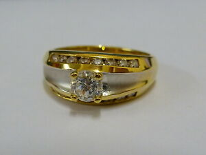 Ladies Stunning 14ct Two Colour Gold CZ Fancy Ring - Size N - Fully hallmarked