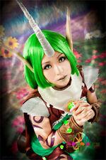 LOL Soraka  Green Straight  Cosplay Hair 35cm Cosplay Wig  Full Wigs+Wig Cap