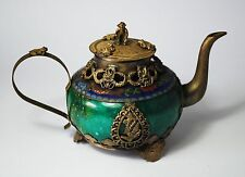Chinese Old Jade Armored Tibetan Silver Dragon & Phoenix & Monkey Lid Teapot