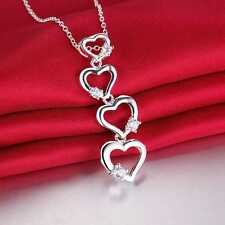925 Sterling Silver Plated Four Heart & Crystal Necklace & Chain/44cm/17.5 inch