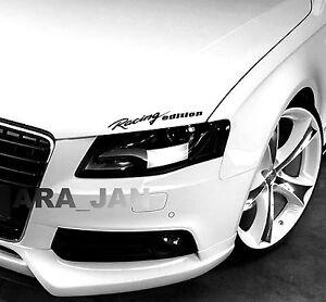 Racing edition Decal Sticker Headlight Taillight Eyebrow sport car racing BLACK