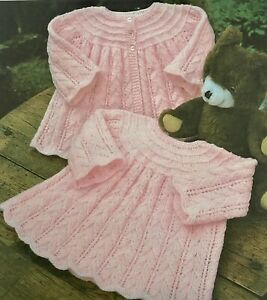 """Baby Knitting Pattern For Dress & Coat In 4ply & Dk To Fit 16-20"""" C21"""