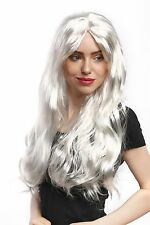 Peluca Mujer Carnaval Halloween largo plano Rubio claro blanco Ángel Frozen