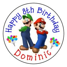 """12 MARIO BROTHERS LUIGI Birthday PARTY Personalized 2.5"""" Round Labels Stickers"""