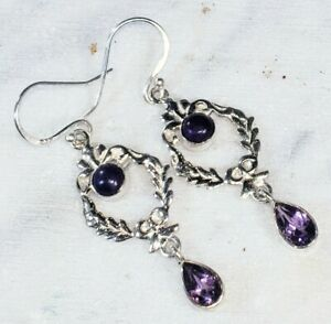 """Natural Charoite, Amethyst .925 Sterling Silver Earrings 6gr 2 1/8"""" x 5/8"""" Q37"""