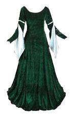 Velvet Medieval Gown Renaissance Forest Green Dress Cosplay Costume LOTR LARP