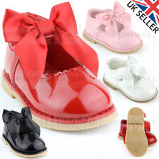 SPANISH STYLE BOW SHOES BABY GIRLS SHINY PATENT SHOES RED WHITE PINK UK4 UK8 NEW