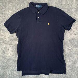 Ralph Lauren Polo Shirt Mens Large Black Short Sleeve Custom Fit Yellow Pony Y1