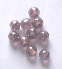 De 12: ronda 10mm lustered Perlas De Vidrio, Heather, para la fabricación de joyas y artesanías