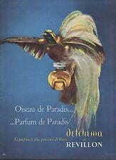 PUBLICITE  PARFUM REVILLON DETCHEMA  OISEAU DE PARADIS  PERFUME AD 1956