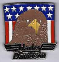 Pin's Pins lapel pin Harley Davidson Drapeau Flag USA Us Aigle Marron Eagle Head