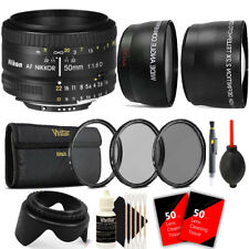 Nikon AF NIKKOR 50mm f/1.8D Lens with Lens Hood Filters Attachments and More
