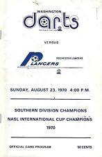 1970 Washington Darts vs. Rochester Lancers NASL Soccer Program - #FWIL