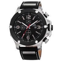 New Men's Joshua & Sons JS75SSB Swiss Quartz Multifunction Black Leather Watch