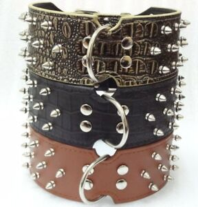 """2.5"""" Wide Leather Spikes&Studded Dogs Collar Large Pitbull Bully Husky Terrier"""