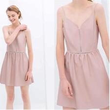 Zara Pastel Pink Faux Leather Dress Straps Bloggers Hot Skater M 10-12 Hip