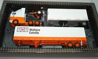 1:64 P.E.M. INTERNATIONAL 9800 WITH 28' & 45' TNT TRAILERS - MINT BOXED - RARE