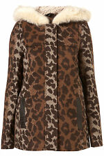 New TOPSHOP animal borg fur jacket UK 10 in Mult/Browni
