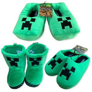 Boys Girls Minecraft Gamer Gaming Creeper Slippers / Boots / Mules