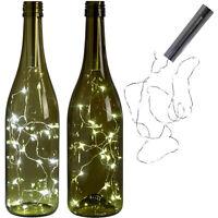 15 LED Bright White Bottle Light Kit Fairy Lights Battery Top Wedding Decoration