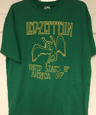 """Anvil Vintage 2003 Myth Gem Led Zeppelin """"Usa 1977� Green T-Shirt, Mens L"""