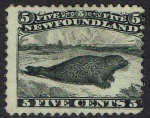 NEWFOUNDLAND 1868 SEAL 5C BLACK NO GUM