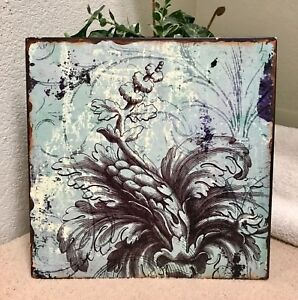 """Metal Wall Art Home Decor Accent Blue Classic With A Twist 12x12"""" by HD Designs"""
