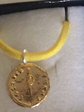 "Aureus Of Vespasian Coin WC16 Gold Made From Pewter On 18"" Yellow Cord Necklace"