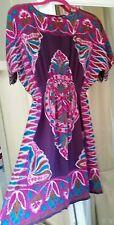 Ladies WAREHOUSE 100% Silk  Short Beach Dress / Tunic/ Cover up Kaftan uk 10
