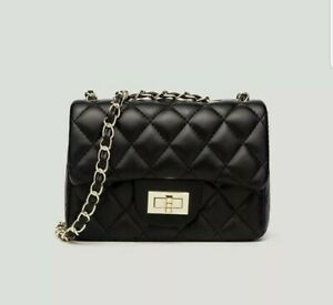 Black Quilted Crossbody Hand Shoulder Bag Gold Chain Small Purse Faux Leather