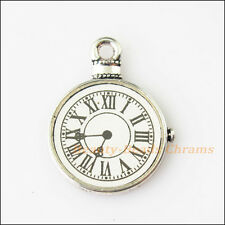2Pcs Antiqued Silver Tone Clocks and Watches Face Charms Pendants 18x23.5mm