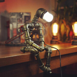 Water Pipe Robot Table Lamps Industrial Metal Desk Lamp Bedroom Bedside Lights