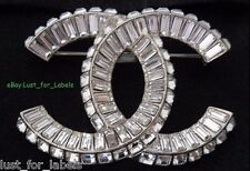 CHANEL NWT Baguette Crystal Large CC Silver Brooch Pin 100% Authentic