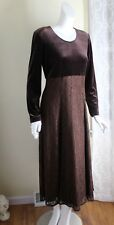 Dawn Joy -11 12 M L Rich Brown Velvet Fit Flare Velvet Bodice Lace-Overlay Dress