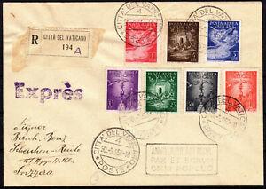 Vatikan Vaticano 1950 R- Expres Satz Brief mit Nr.140-146 Flugpost nach Schachen