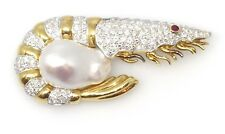 Camarón Broche / alfiler con diamantes y barroco perla 18ct Oro - hm1523
