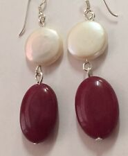 FREE POST Quality Drop Earrings Freshwater Coin Pearl Silver Like Ruby Stone