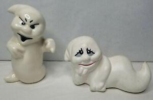 Vintage Pair of Handpainted Ceramic Ghost Figurines Halloween