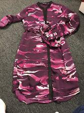 Dknyc Printed Faux Suede Trim Shirtdress Size S ORIG $119