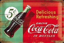Insegna in metallo con scritta rilievo Coca Cola Delicious Refreshing 5c,na3020