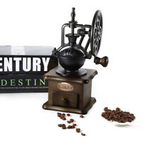 Manual Coffee Grinder Retro Style Wooden Vintage Hand Bean Grinding Coffee Mill