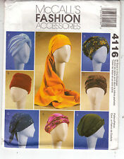 Turbans Head Wrap Hats 7 Different Styles McCalls 4116 Sewing Pattern S-L Uncut