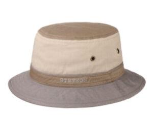 Stetson Bucket Hat XL 61cm 100% Cotton Upf 40 Rating Sun Cap Beige Brown Gray