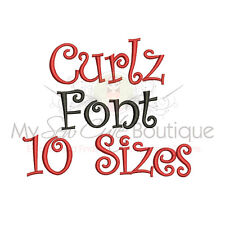 CURLZ ALPHABET FONT MACHINE EMBROIDERY DESIGNS - 10 SIZES - IMPFCD12