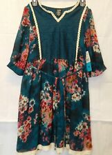 Zunie Big Girl's Casual Lace 3/4 Length Sleeve Dress (16,Teal/Berry) Nwt