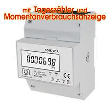 LCD Drehstromzähler für Hutschiene mit Verbrauchsanzeige und Tageszähler und S0